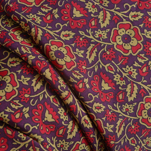 Maroon and Multi Colour Floral Print Kaftan (Size 80x70 Cm)