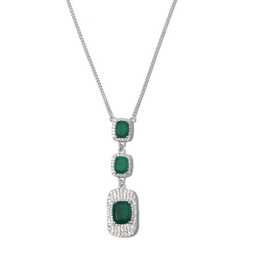 Verde Onyx (Cush 12x10 MM), Natural Cambodian Zircon Necklace with Chain (Size 18) in Platinum Overlay Sterling Silver 11.250 Ct. Silver wt 12.99 Gms. Number of Gemstone 133