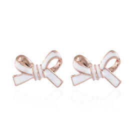 Designer Inspired- Rose Gold Overlay Sterling Silver Bow Knot Earrings (with Push Back) with Enameling