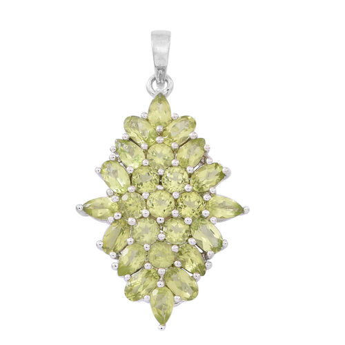 Hebei Peridot (Ovl) Pendant in Rhodium Plated Sterling Silver 5.500 Ct.