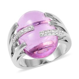 21.62 Ct Simulated Pink Sapphire and Simulated Diamond Solitaire Ring