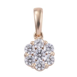 J Francis -9K Yellow Gold (Rnd) Pressure Set Pendant Made With SWAROVSKI ZIRCONIA Gold wt 1.27 Gms.