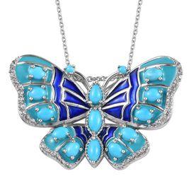 Leap Year Deal - Arizona Sleeping Beauty Turquoise, Natural Cambodian Zircon Enamelled Butterfly Pen