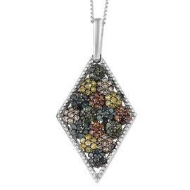 0.50 Ct Multi Colour Diamond Cluster Pendant With Chain in Platinum Plated Silver