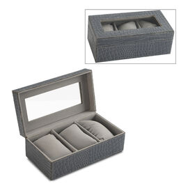 Croc Embossed Leather Watch Box with 3 Section Watch Cushions (Size 21x11x7.5 Cm) - Charcoal Grey