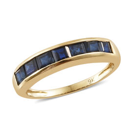 Limited Edition- 9K Yellow Gold AAA Kanchanaburi Blue Sapphire (Princess Cut) Half Eternity Band Ring 1.500 Ct.