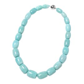 790 Ct AAA Russian Amazonite Beaded Necklace in Rhodium Plated Silver with Magnetic Lock 20 Inch