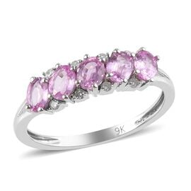 Madagascar Pink Sapphire (0.95 Ct) and Diamond 9K W Gold Ring  1.000  Ct.