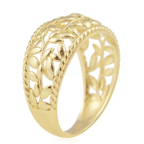 Vicenza Collection- 9K Yellow Gold Leaf Design Ring, Gold wt 1.90 Gms