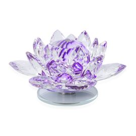 Rotating Faceted Crystal Lotus (Size 14x6.5 Cm) - Colour Purple