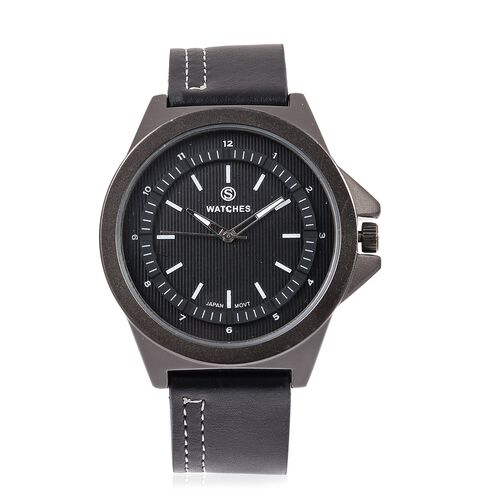 STRADA Japanese Movement Water Resistant Watch with Black Literal and Black Colour Strap.