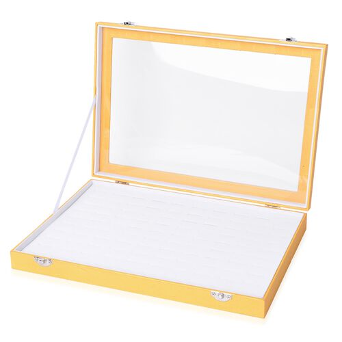 Golden Colour 100 Slot Ring Box with Transparent Top and Velvet Inside (Size 35X24X4.6 Cm)