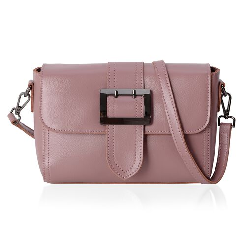 100% Genuine Leather Pink Colour Shoulder Bag with External Zipper Pocket and Removable Shoulder Str