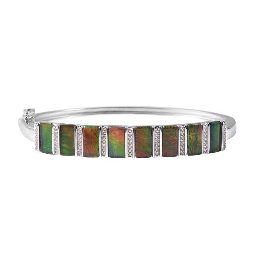 11.13 Ct Canadian Ammolite and Zircon Bangle in Rhodium Plated Sterling Silver 18 Grams 7.5 Inch