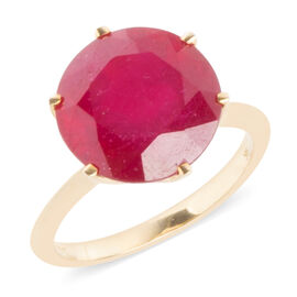 Limited Edition- 9K Yellow Gold AAA Rare Size African Ruby (Rnd 12 mm) Ring 9.290 Ct.
