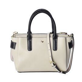 100% Genuine Leather Light Grey and Black Colour Bag (Size: 30x24x11x18 Cm) with Detachable Shoulder