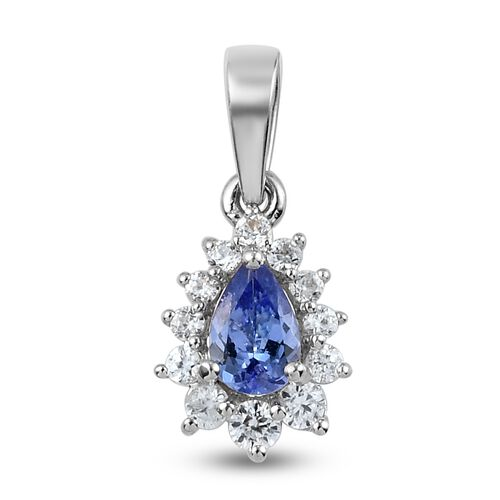 Tanzanite and Natural Cambodian Zircon Pendant in Platinum Overlay Sterling Silver