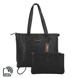 Union Code 100% Genuine Leather Black Tote Bag and RFID Wrislet with Zipper Closure