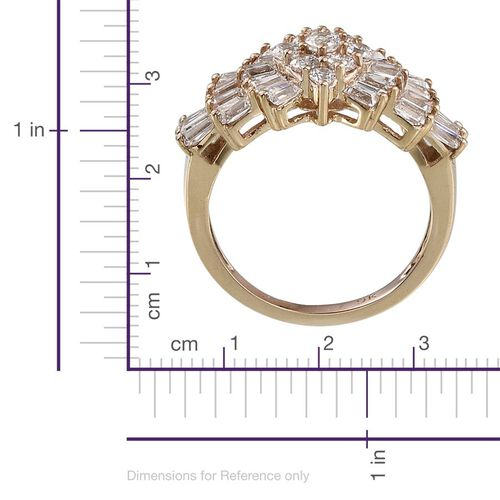 J Francis - 9K Yellow Gold (Rnd and Bgt) Cluster Ring Made with SWAROVSKI ZIRCONIA