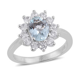 Extremely Rare Size Espirito Santo Aquamarine (Ovl 1.00 Cts), Natural Cambodian Zircon Ring in Platinum Overlay Sterling Silver 2.000 Ct.
