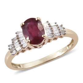 9K Yellow Gold AAA African Ruby (Ovl), Diamond Ring 1.250 Ct.