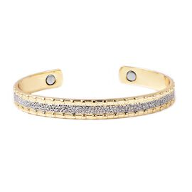 Cuff Bangle (Size 7.25) with Magnets in Dual Tone