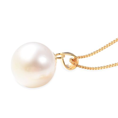 White South Sea Pearl (Rnd) Necklace (Size 20 Adjustable) in Yellow Gold Overlay Sterling Silver