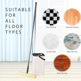 Magic Mop with Cleaning Bucket (Bucket Size 23x19x37.6 Cm),(Mop Size:140x33 Cm) - Grey