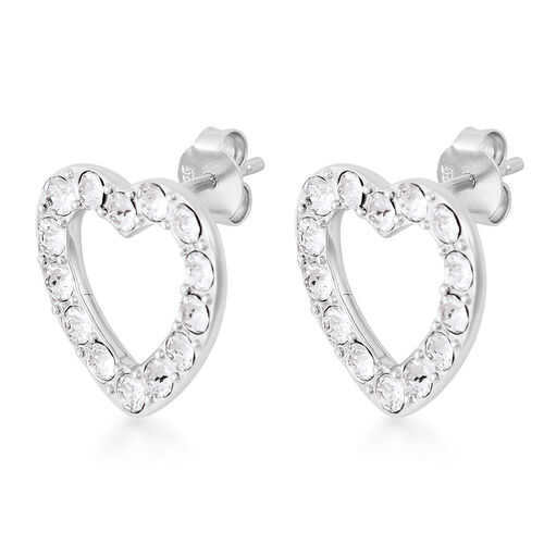 J Francis - Crystal from Swarovski White Crystal (Rnd) Heart Stud Earrings (with Push Back) in Rhodium Overlay Sterling Silver
