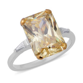 ELANZA Swiss Star Simulated Canary and Simulated White Diamond Solitaire Design Ring in Silver