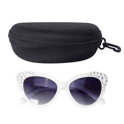 Shiny Solide Ivory Frame Cats Eye Sunglasses with Simulated Crystals and UV Protection Lenses Including Hard Plastic Black Pouch
