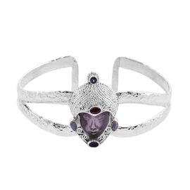 Sajen Silver GODDESS Collection- Amethyst and Multi Gemstone Handcarved Devi Danu Cuff Bangle (Size