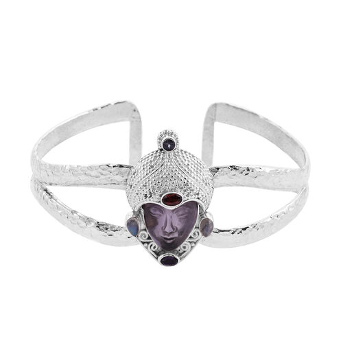 Sajen Silver - Amethyst and Multi Gemstone Handcarved Devi Danu Cuff Bangle (Size 7.5) in Sterling S
