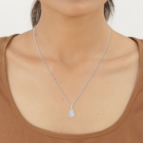 Rainbow Moonstone and Natural Cambodian Zircon Pendant with Chain (Size 18) in Sterling Silver 7.04 Ct.