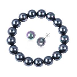 2 Piece Set - Tahitian Colour Shell Pearl (Rnd 11-13 mm) Stretchable Bracelet and Stud Earrings in R