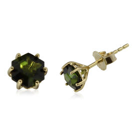 1.04 Ct AA Green Tourmaline Solitaire Stud Earrings in 9K Yellow Gold