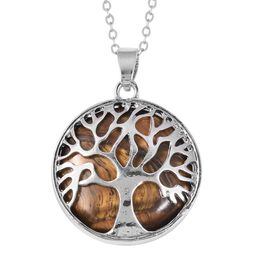 Tigers Eye (Rnd) Tree of Life Pendant With Chain (Size 24) in Stainless Steel 15.00 Ct.