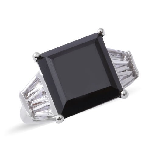 Boi Ploi Black Spinel (Sqr 10.40 Ct), White Topaz Ring in Rhodium Overlay Sterling Silver 10.880 Ct,