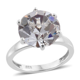 J Francis - Crystal from Swarovski White Colour Crystal (Rnd 11.5 mm) Ring in Platinum Overlay Sterl