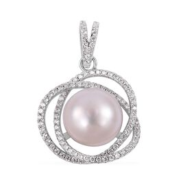 Freshwater White Pearl and Simulated Diamond Solitaire Circle Pendant in Sterling Silver