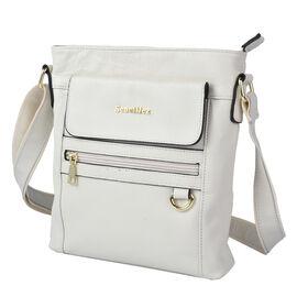 SENCILLEZ Womens Genuine Leather Crossbody Bag with Shoulder Strap - Off White