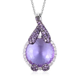 Simulated Amethyst (Rnd), Simulated Diamond Pendant With Chain (Size 20) in Two Tone Plated