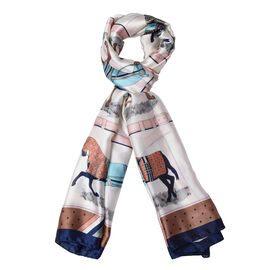 Designer Inspired- Ivory, Brown and Multi Colour Horse Pattern Scarf (Size 90x180 Cm)