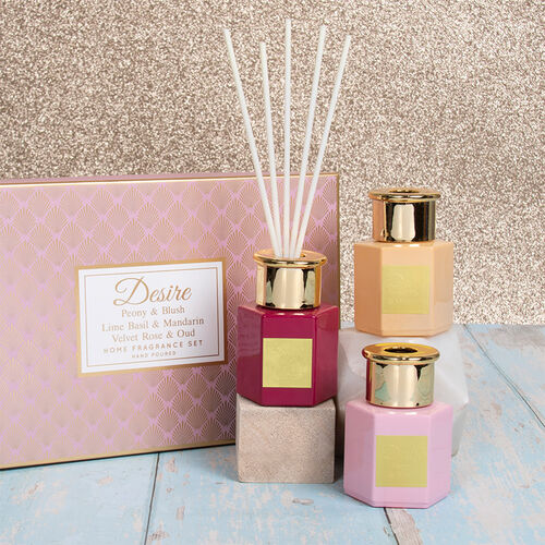 Lesser & Pavey - Set of 3 Desire Diffuser Set Hex Pink - Peony & Blush, Lime Basil & Mandarin, Velve