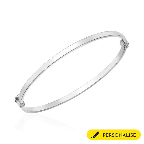 Personalised 9k White Gold 3MM Rectangular Tube Oval Bangle Size 7.5