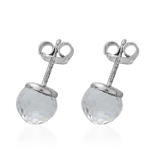 Crystal from Swarovski - White Crystal Stud Earrings (with Push Back) in Platinum Overlay Sterling Silver