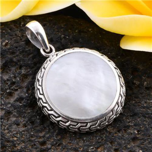 Royal Bali Collection - Mother of Pearl Pendant in Sterling Silver, Silver wt. 3.50 gms