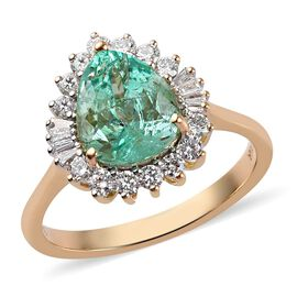 ILIANA 18K Yellow Gold Boyaca Colombian Emerald and Diamond Ring 3.50 Ct.