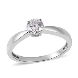 Diamond (0.50 Ct) 9K W Gold Ring  0.500  Ct.