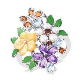 Jardin Collection - Yellow Mother of Pearl, Freshwater Pearl and Multi Gemstone Enamelled Ring in Rh